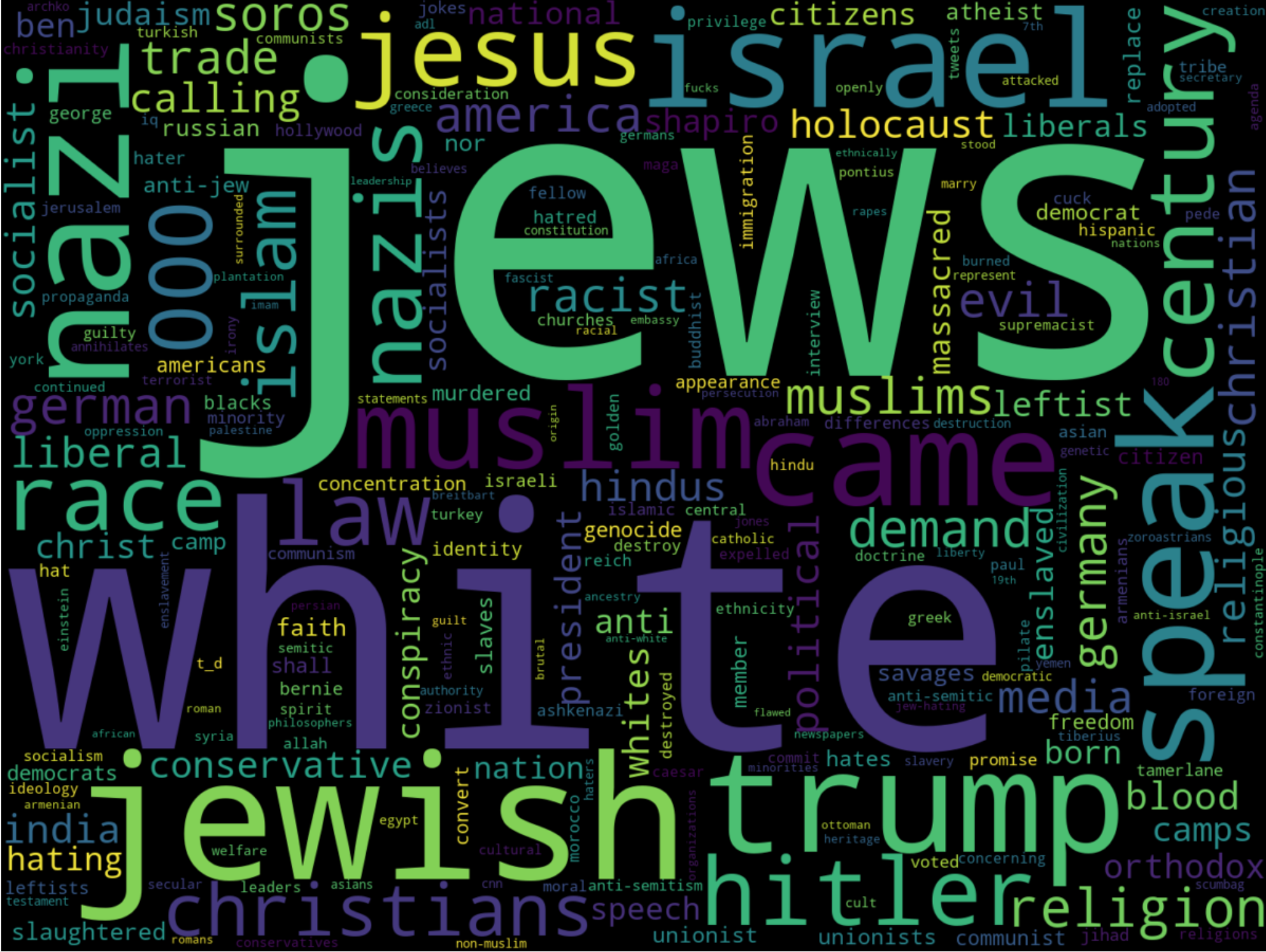 """Word cloud for """"jew"""" in The_Donald"""