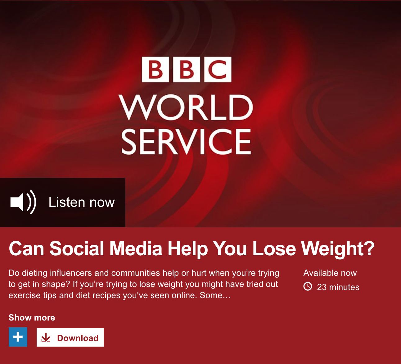 """BBC World Service - Trending - """"Can Social Media Help You Lose Weight?"""" - Tim Squirrell on Instagram and Reddit Diet Communities"""