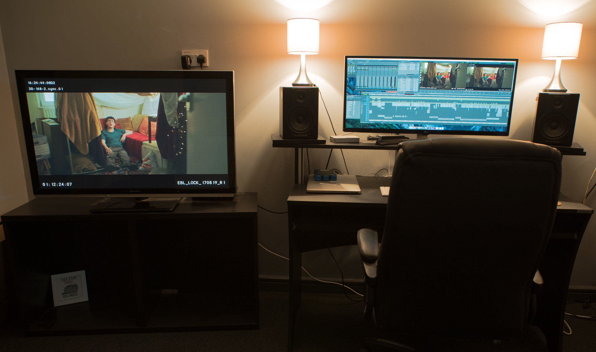 """My offline editing suite. Simple and efficient with a large 42"""" screen for directors."""