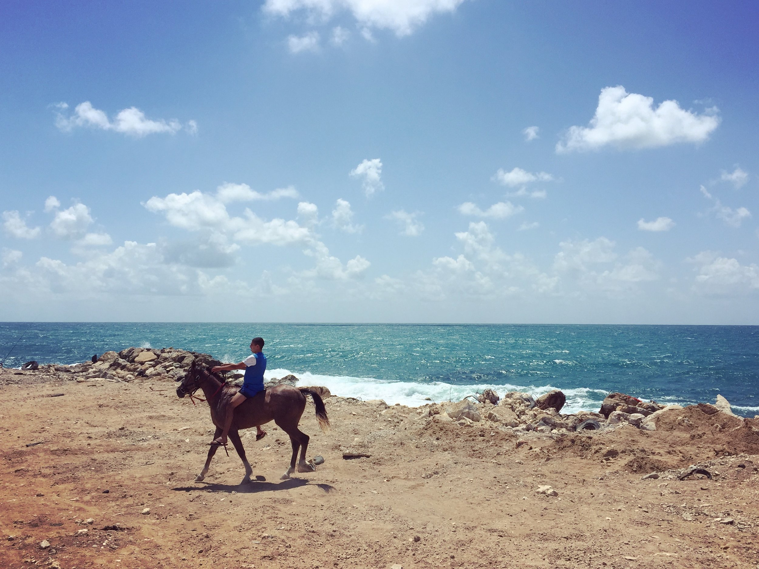 JAFFA | Boy rides a horse along the beach in the old city of Jaffa. May 27, 2016.