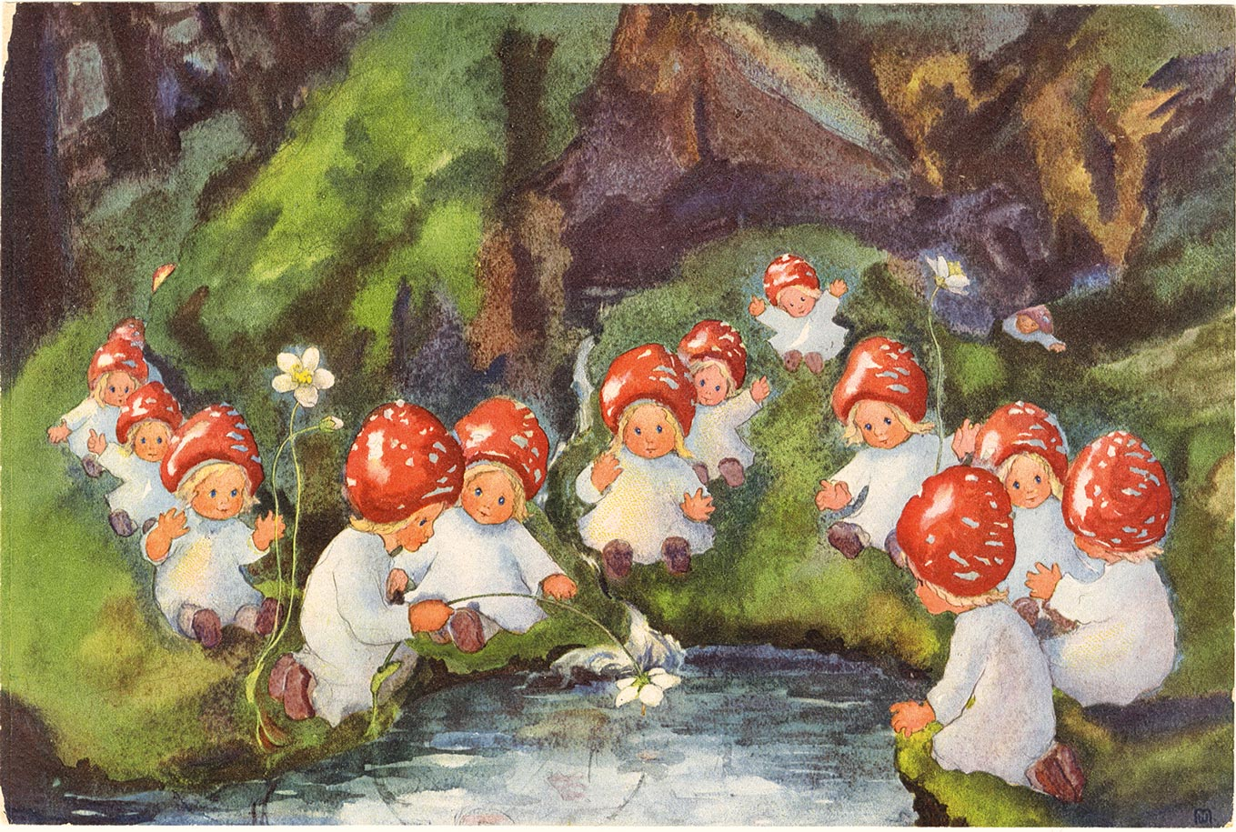 ||Pilzkinder am Teich..Toadstool children by the pond||