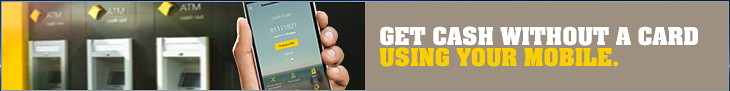 """Above: Commonwealth Bank digital banner ad """"Get Cash Without A Card Using Your Mobile""""."""