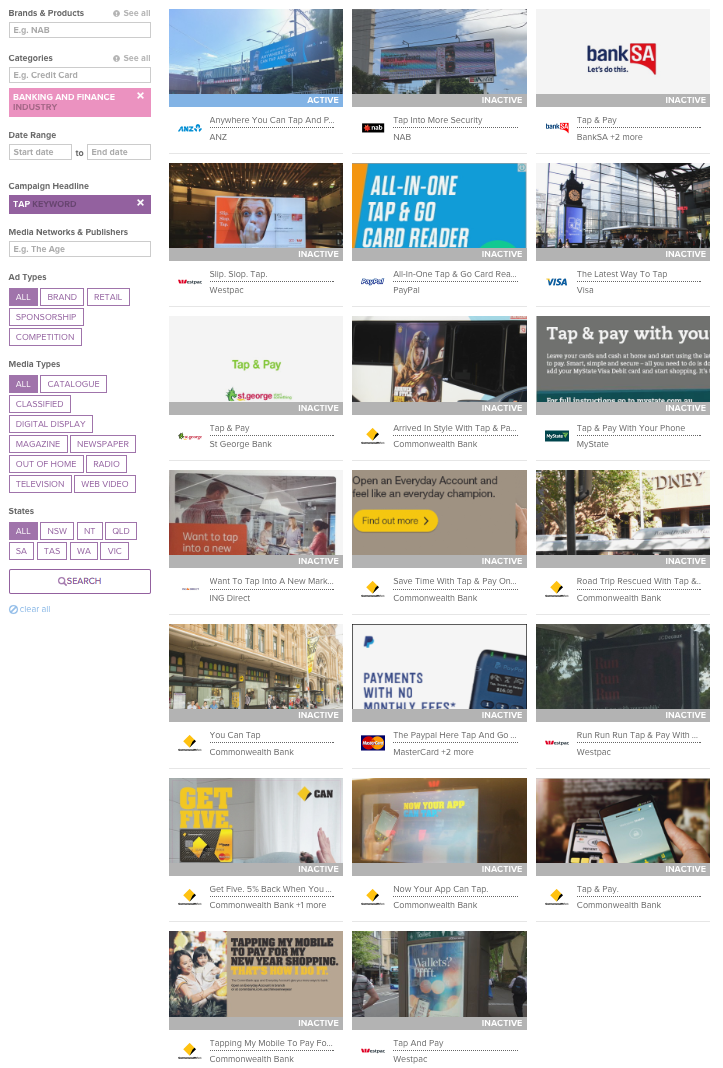 Above: Snapshot of BigDatr Campaign Library of all Banking and Finance campaigns incorporating 'Tap' in their campaign headline.