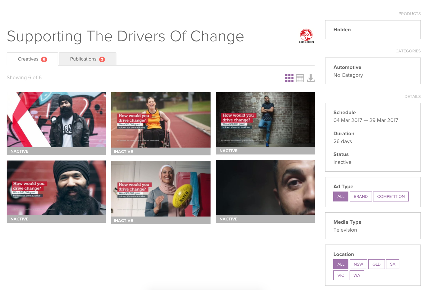 Above: Holden's campaign 'Supporting The Drivers of Change' from BigDatr's  Campaign Library  dashboard.