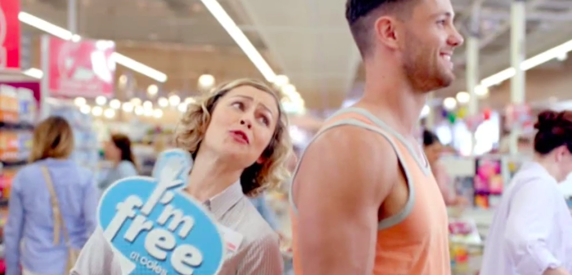 """Coles Easter TVC """"I'm Free"""" received immediate backlash after ad featured a female staff member using the sign suggestively."""