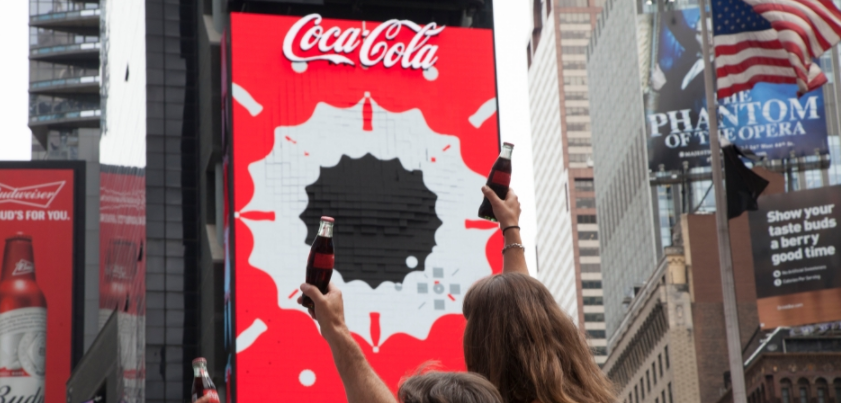 Image:  Coca-Cola  and Fans Celebrate World's First 3D Robotic Sign in Times Square