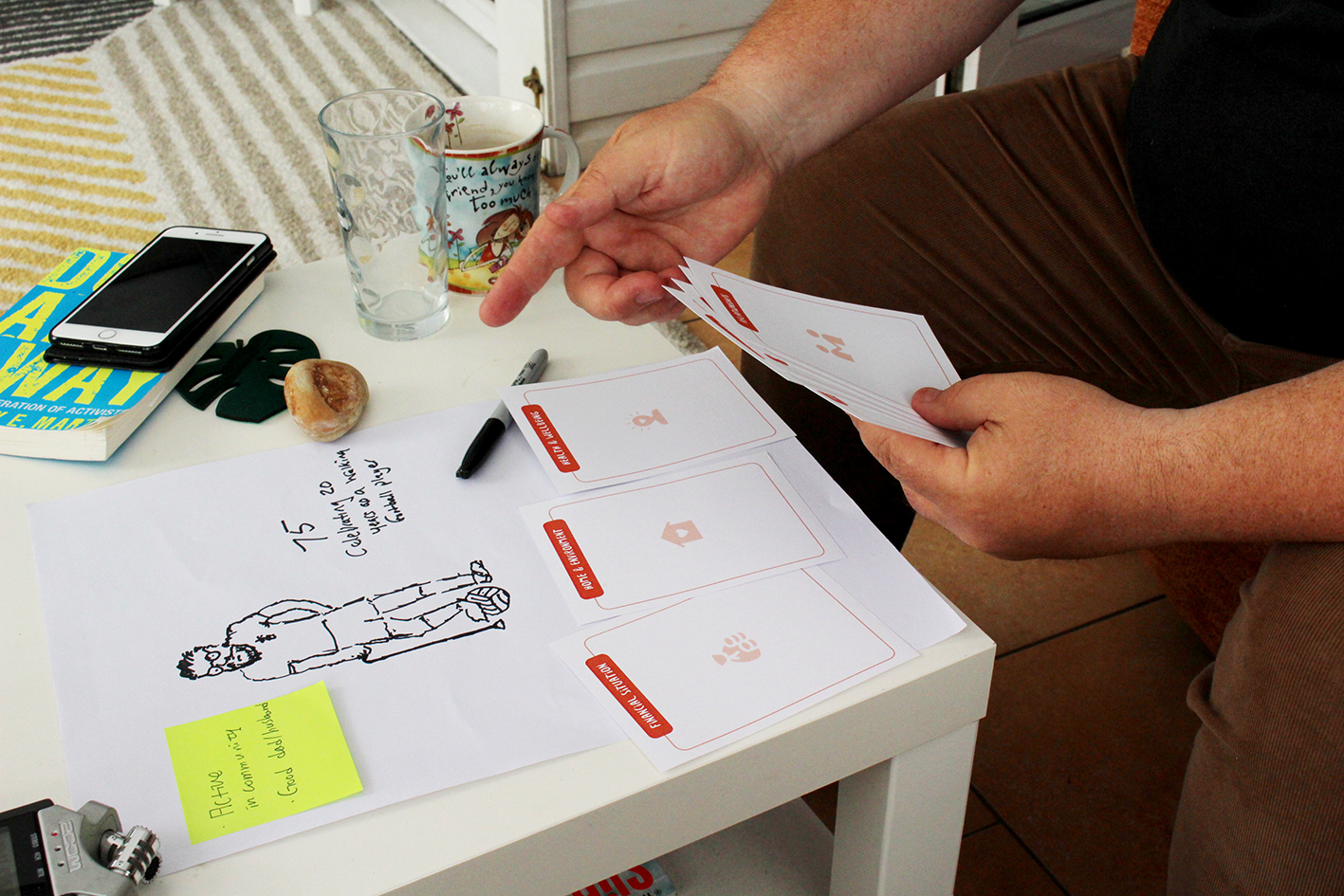 A research participant engaging with a creative activity around 'ideal support'