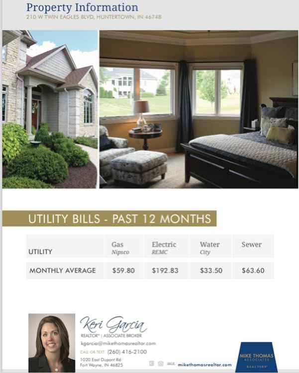 Monthly utilities and association dues are things to factor in when considering a new house, or neighborhood. The total cost for these necessities could potentially add as much as 25 percent of your mortgage payment to your total monthly housing costs — depending on the size of the place and how often you run your dishwasher and dryer. 🏡 Don't be surprised! These are things that I, as a listing agent or buyer rep can help you find out early on. We even include this information in marketing materials, like this brochure I did for a sold listing in Twin Eagles. #FortWayne // Mike Thomas Realtors