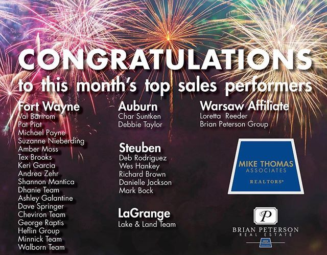Ahhhh! I love seeing my name in fireworks! Congratulations to all of my hard-working fellow agents on a stellar month!! 🎇🎆 #FortWayne #🎉