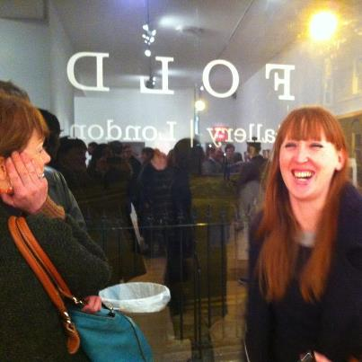 Mel at friend's exhibition opening, Fold gallery, London