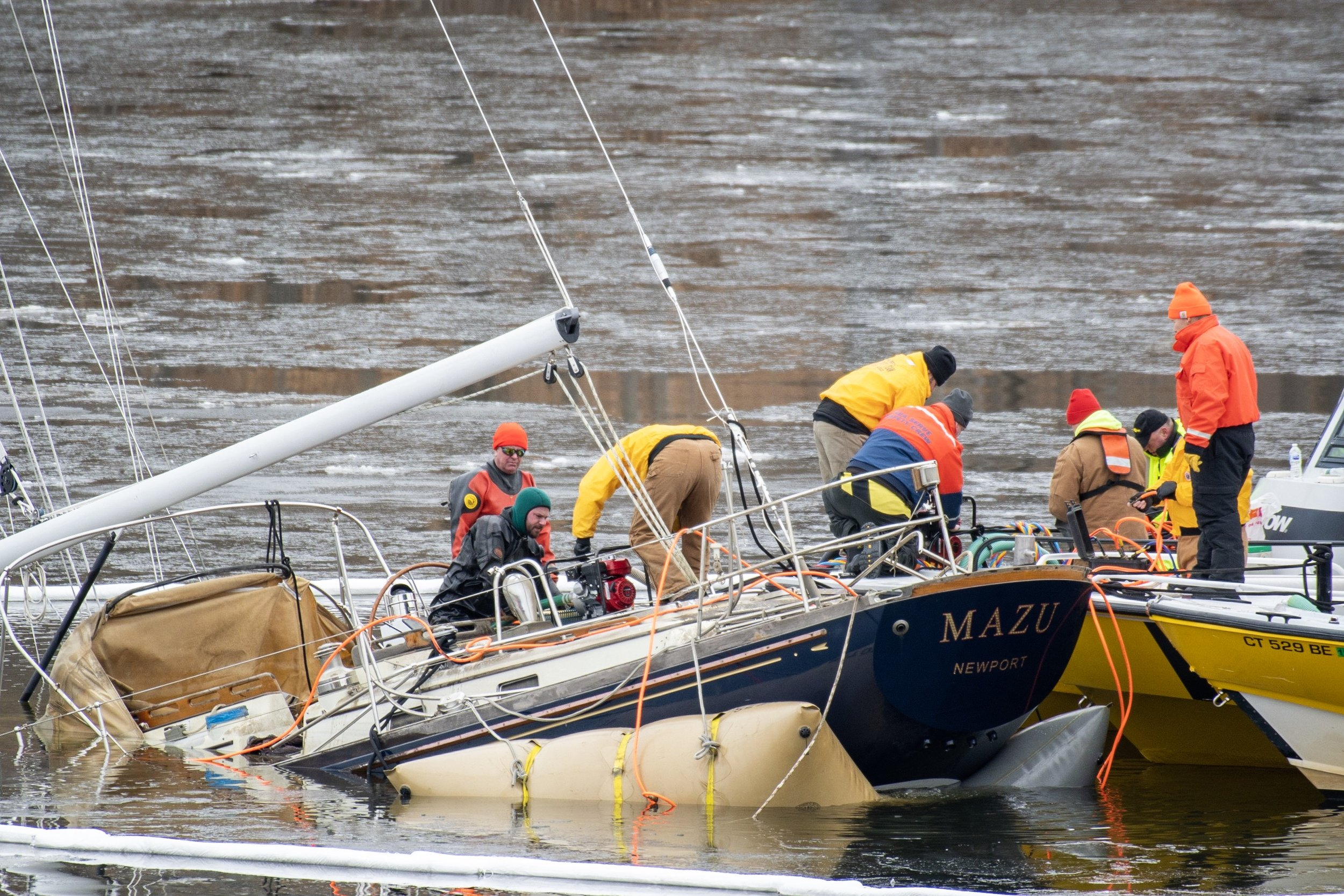 I was lucky enough to have a front row seat for the lifting of the sunken sailboat in Hamburg Cove