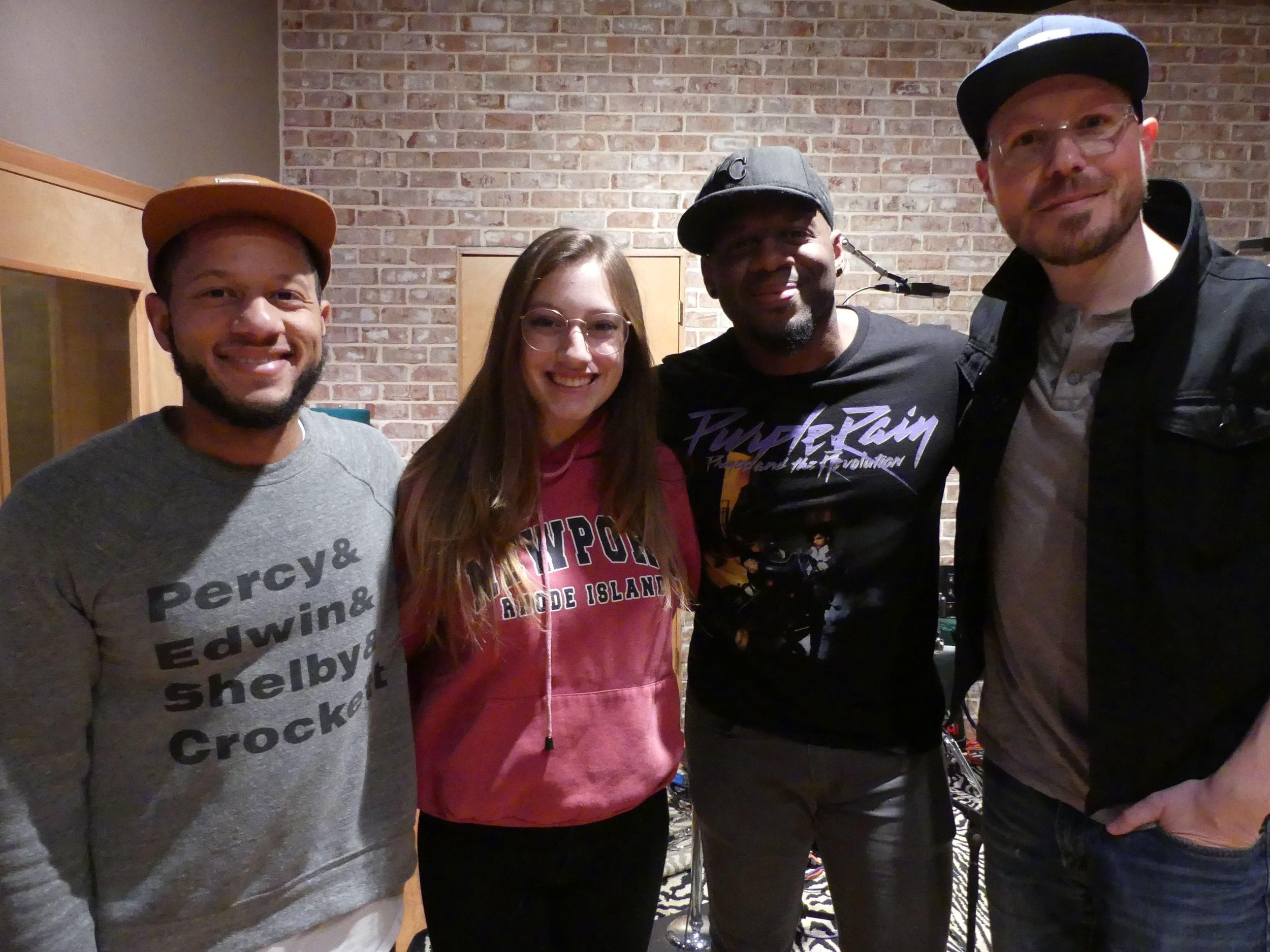 Gina Brooklyn at Sound Kitchen Studio in Nashville, TN with Kyle Whalum, Gina, Lester Estelle, and Luke Sullivant