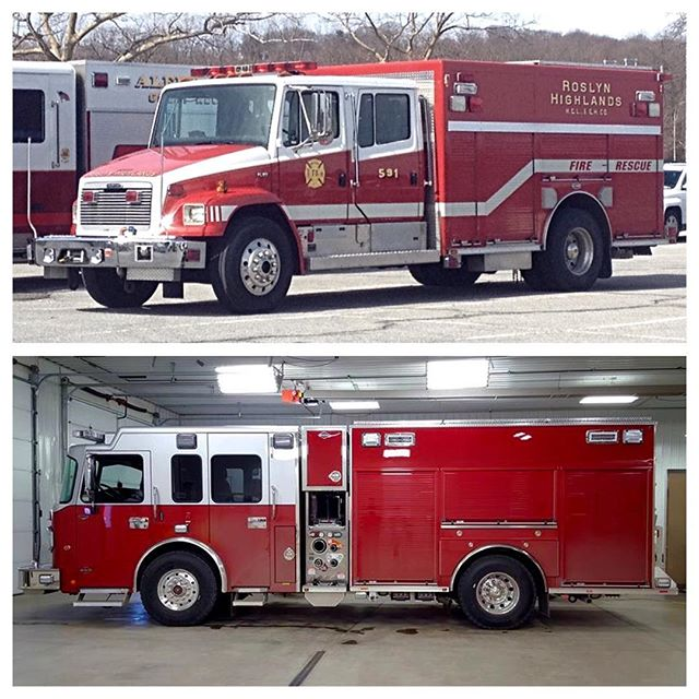 #TBT with the new truck in the picture. Above: Retired E-One rescue truck. Below: current Spartan rescue pumper. #591 #RHFC