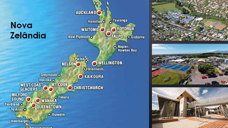 Nova Zelândia - São mais de 30 escolas espalhadas pela Ilha do Norte e Ilha do Sul em cidades como Auckland, Tauranga, Napier, New Plymouth, Christchurch. Todas localizadas em grandes e belos campus com todas as facilidades que os alunos precisam para desfrutar de um ambiente acadêmico agradável e desafiante. Laboratórios, salas de computação, música, artes, tecnologia, biblioteca, salas de aula e ginásio de esportes estão equipados com os mais novos recursos tecnológicos e professores altamente capacitados.O Código de Prática do Bem-Estar do Estudante Internacional é obrigatoriamente seguido por todos os estabelecimentos de ensino que recebem estudantes estrangeiros, garantindo, entre outras coisas, cuidados na seleção das famílias hospedeiras, atendimento às necessidades dos estudantes e transparência nas comunicações. Os diplomas e certificados emitidos pelas instituições de ensino são reconhecidos mundialmente.