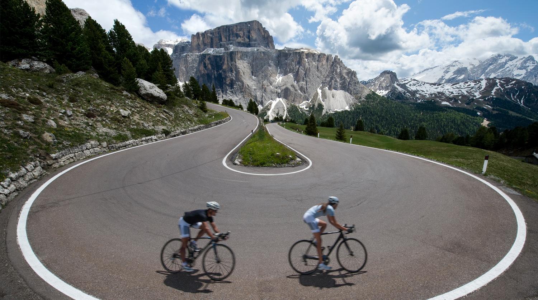 Biking through the mountains photo