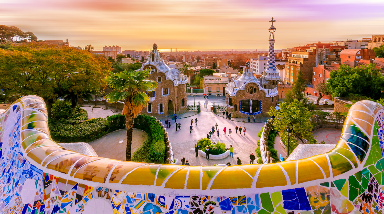 Barcelona's colorful tile buildings at sunset