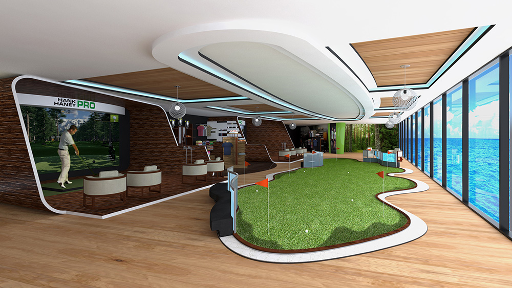 Golf facilities on the ship's bow-to-stern Sports Deck