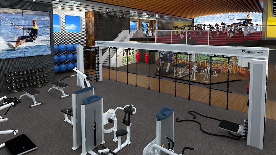 Rendering of Blue World Voyages' spin and fitness studios.