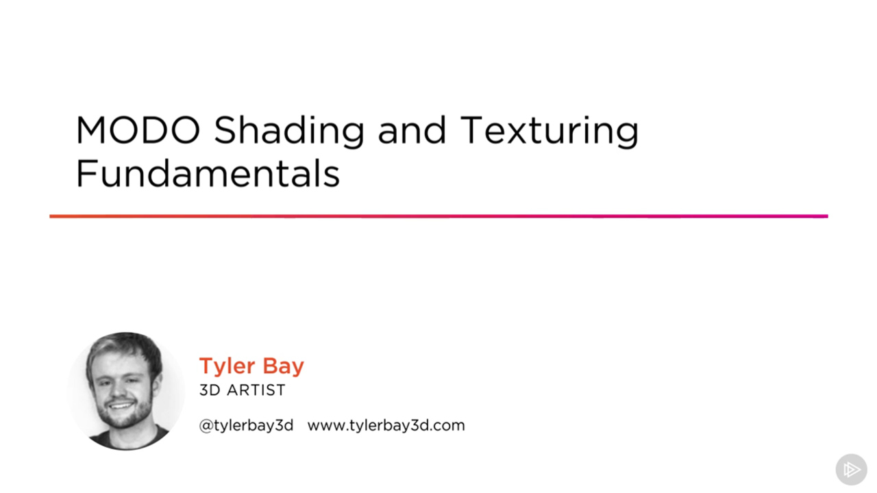 Check out the Course Introduction Video! https://app.pluralsight.com/player?author=tyler-bay&name=modo-shading-texturing-fundamentals-m0&mode=live&clip=0&course=modo-shading-texturing-fundamentals
