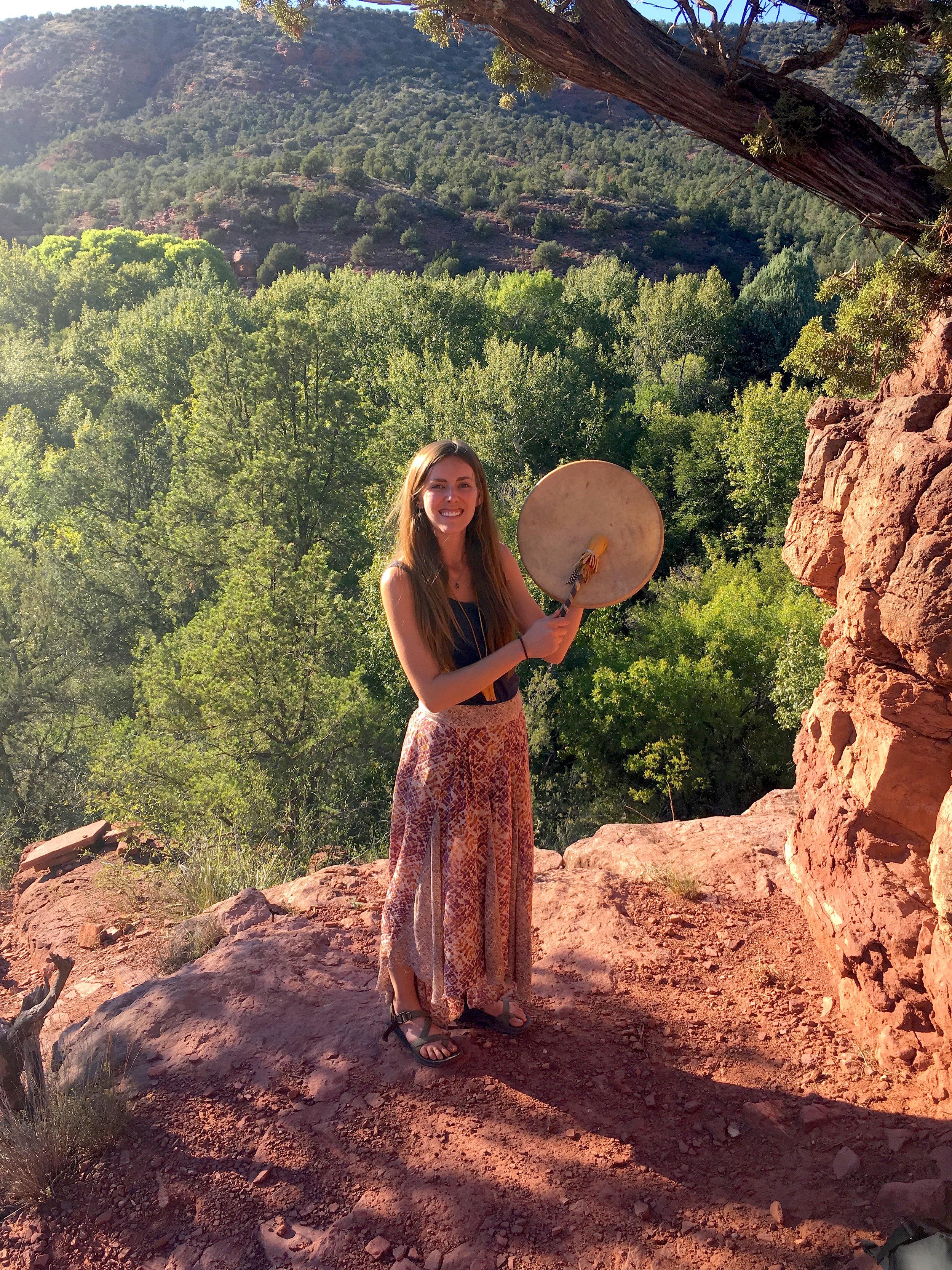 Alex with her drum, Sasewe, in Sedona, AZ.
