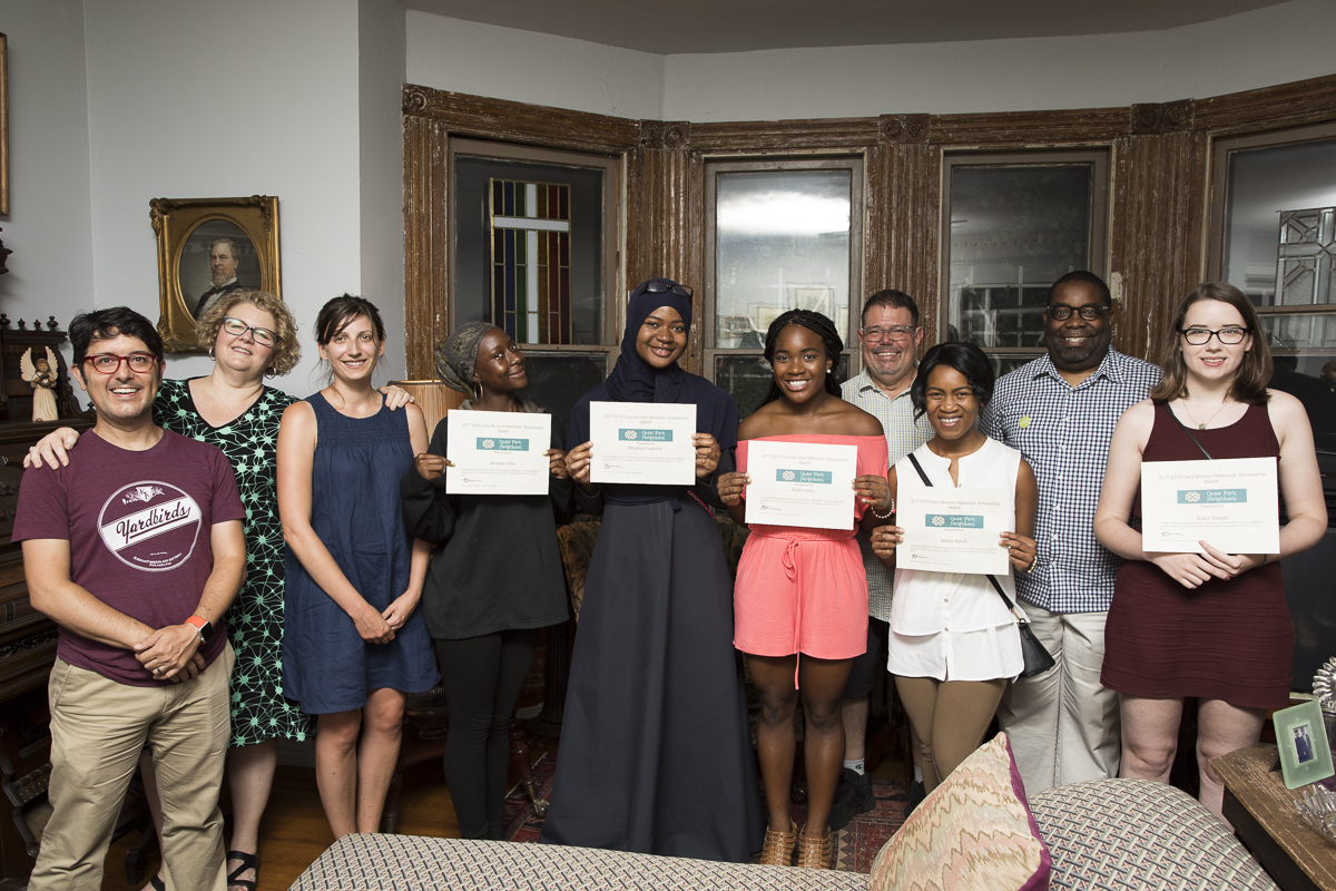 Several current scholarship recipients and committee members during the award ceremony last July.