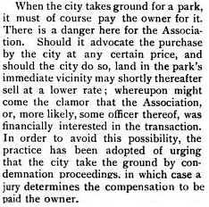 "In a separate 1904 journal article, the industrious Crawford outlines CPA's reasoning for its preferred methods of property acquisition by the city. His ""Small Parks in Philadelphia"" article took first prize in the Outlook journal's The Town Beautiful competition and notes:"