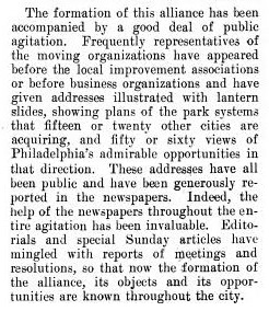 "A 1904 article titled, ""The Comprehensive Park Movement in Philadelphia,"" written by Andrew Wright Crawford secretary of the CPA and appearing in the New York journal Charities details the alliance's favored tactics."