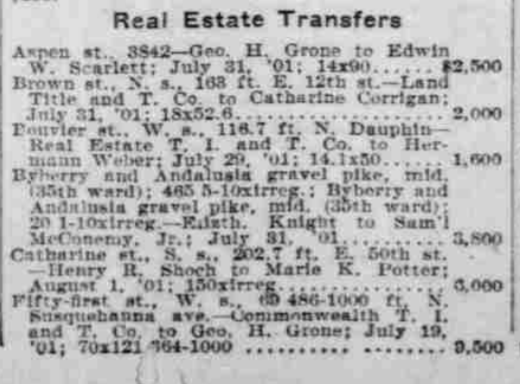 In August 1901, The Philadelphia Inquirer noted at last the sale by Shoch for $3,000 of an irregular portion of the triangle - 202 feet of Catharine Street frontage closest to 50th Street - to Marie K. Potter, wife of Edward W. Potter a local realtor. The land probably held particular appeal to the Potters given Edward's business office location at 4904 Baltimore Avenue.