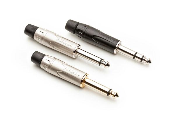 Unbalanced, two-pole (bottom and centre) and balanced, three-pole (top) jack plugs