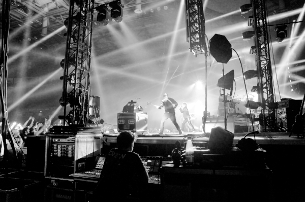 iConnectivity users Enter Shikari - their monitor engineer sitting side of stage.