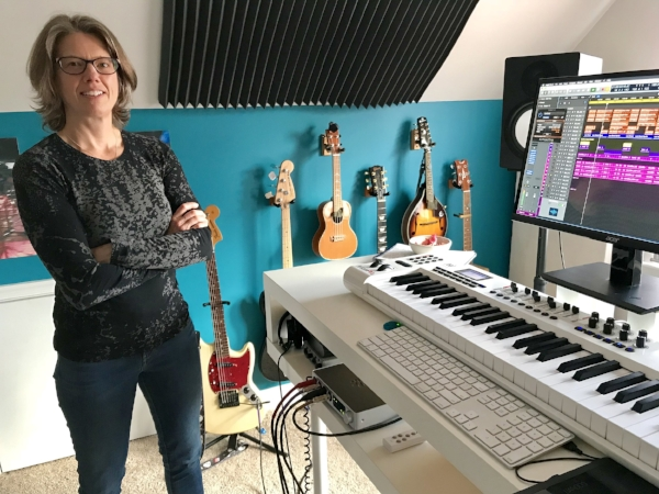Composer CK Barlow in her home studio with the iConnectivity iConnectAUDIO4+ Photo credit: Karen Milling