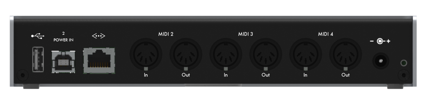 The iConnectivity mio4 - a great workhorse capable of delivering four MIDI ports down a single Ethernet lead.
