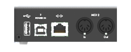 The back panel of a typical iConnectivity MIDI interface. Note the USB-MIDI Host port situated far left.