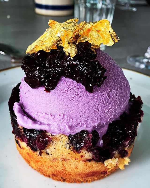 Purple Rain 💜 Alex's homemade blueberry tart & homemade blueberry ice cream & homemade blueberry compote flecked with gold leaf purchased on the internet by me #fromeachaccordingtotheirability 😈☂️