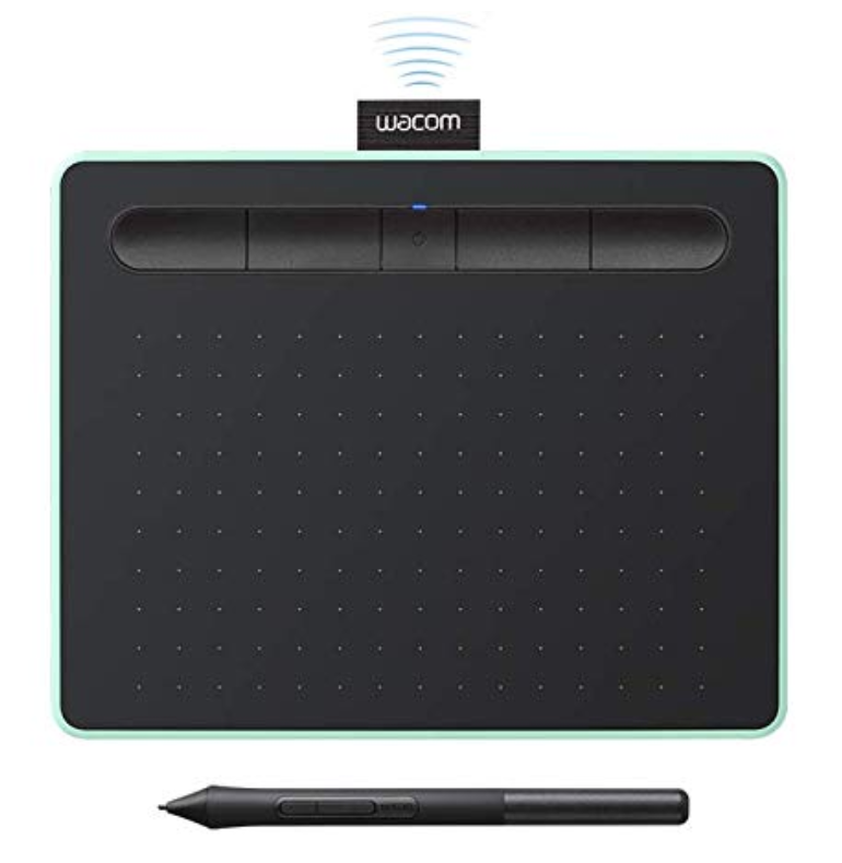 Wacom intuos wireless tablet - This small size is perfect to use as a travel tablet. We like the pistachio color.