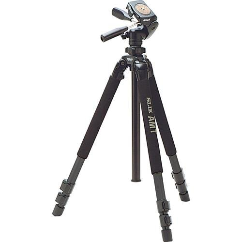Slik Pro 700DX AMT 3-Section Tripod with Pan and Tilt Head - A solid tripod with 19.8 lbs capacity and 6.23 ft maximum height.