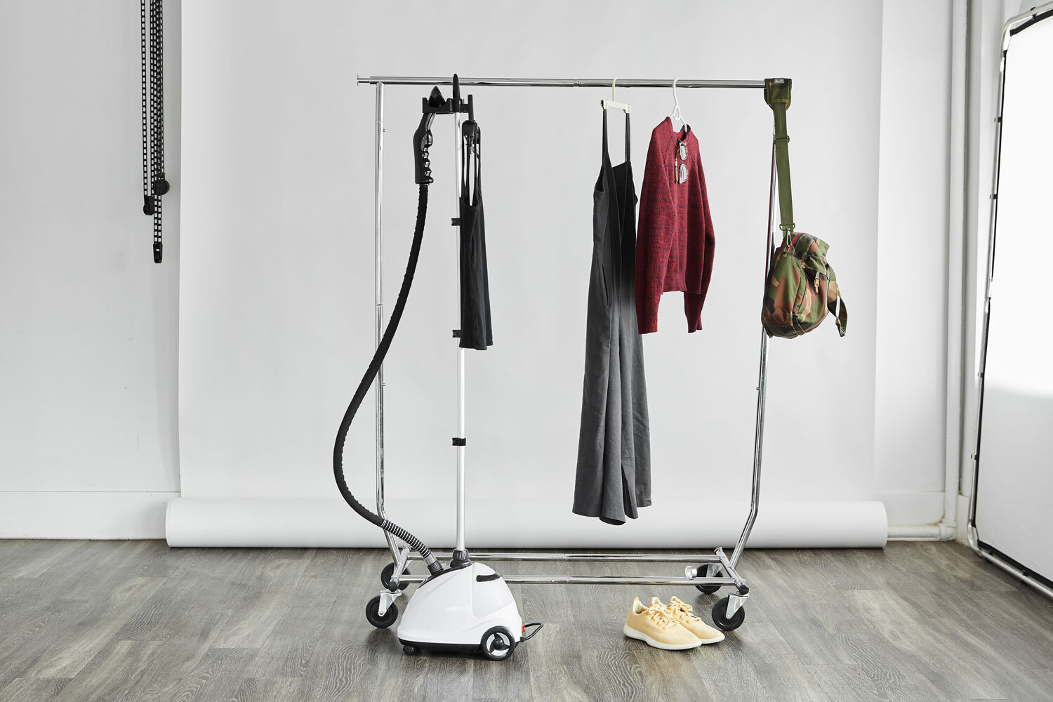 Both of our studios have a steamer and rolling rack included with your rental.