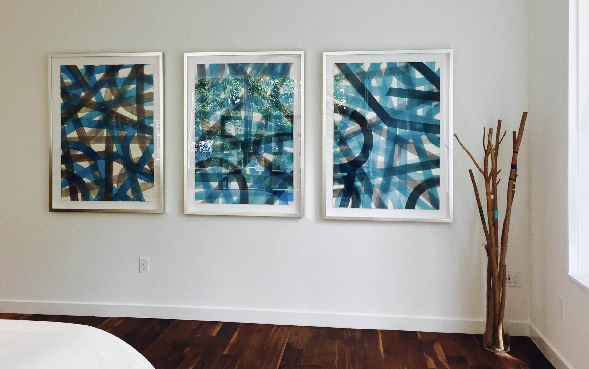 "Master Bedroom:  ""Turquoise & Grey Subway""  Series / AquaTint Framed Originals                   $1995. each"