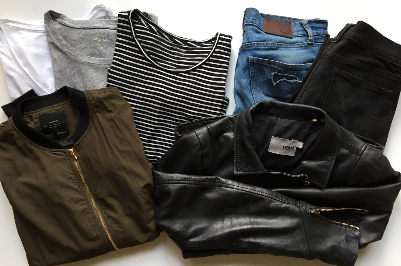 J. Crew Vintage Tees ( White  and  Gray ) | Madewell Striped Tee ( similar ) | Madewell Patch Jeans ( similar ) |  J. Crew Factory Deconstructed Jean  | Zara Bomber Jacket ( similar ) |  Doma Leather Jacket