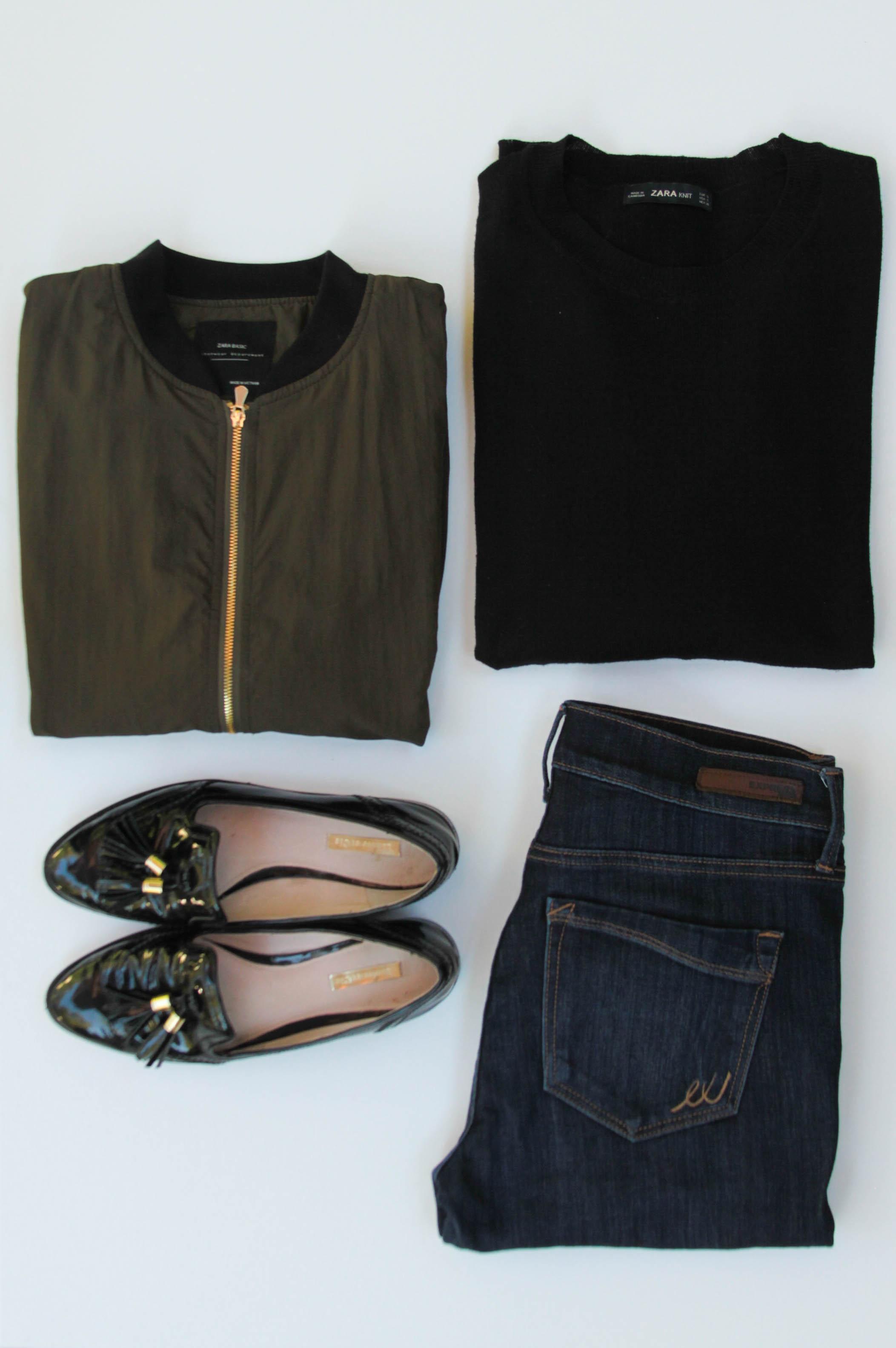 Zara Bomber Jacket ( Similar ) | Zara Black Sweater ( Similar ) |  Express Jeans  | Patent Leather Loafers ( Similar )