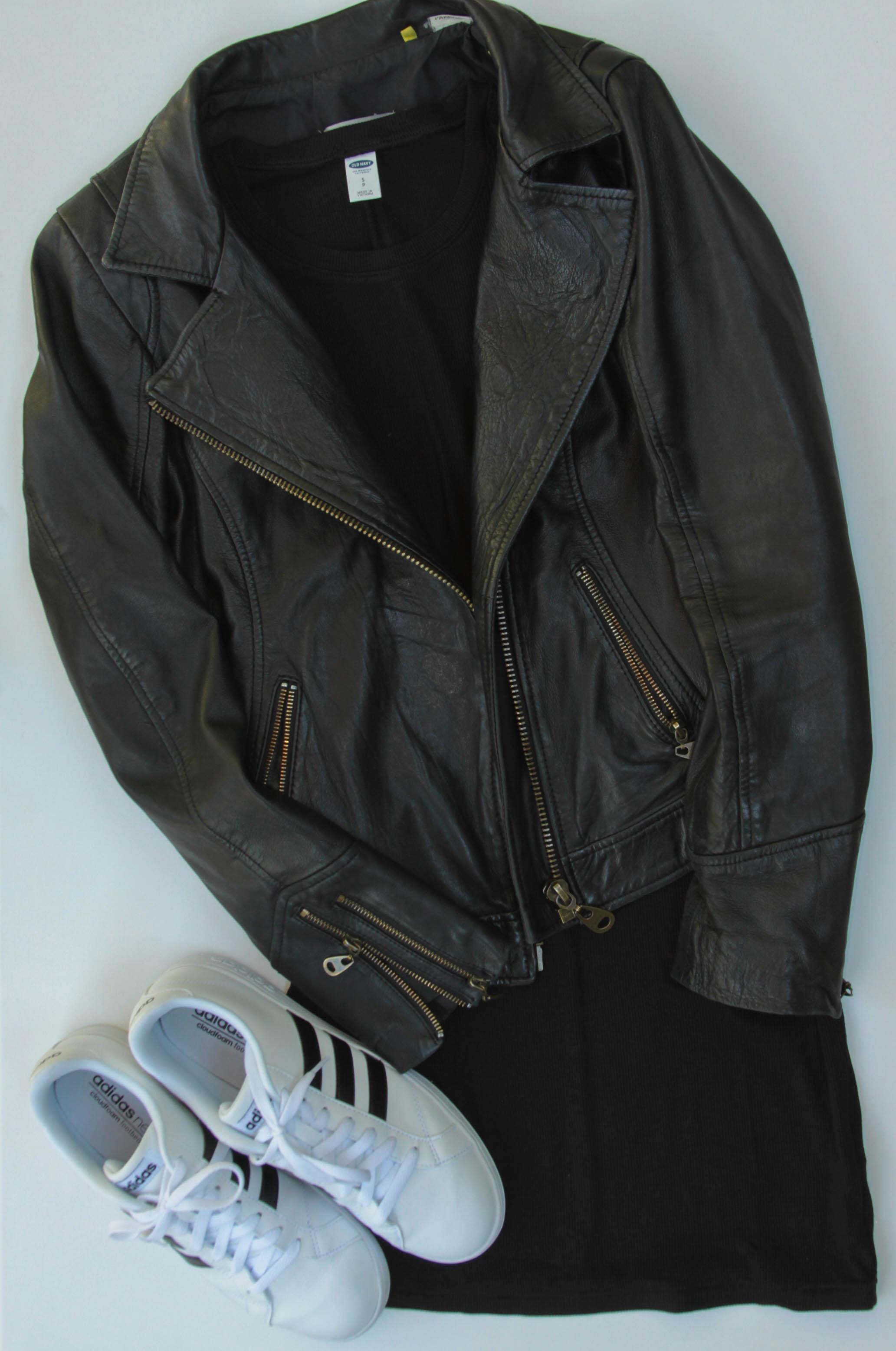 Doma Leather Jacket  |  Old Navy Black Dress  |  Adidas