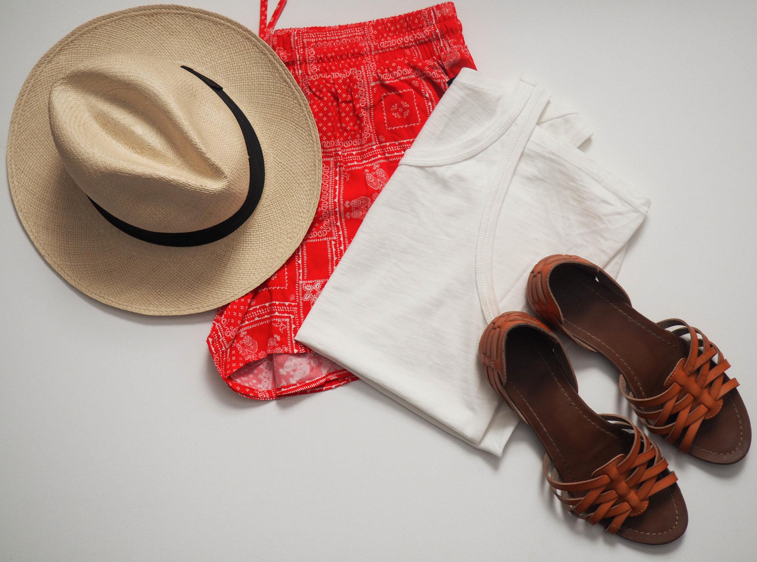 J. Crew Panama Hat  |  Target Soft Shorts  |  Target Gena Flats