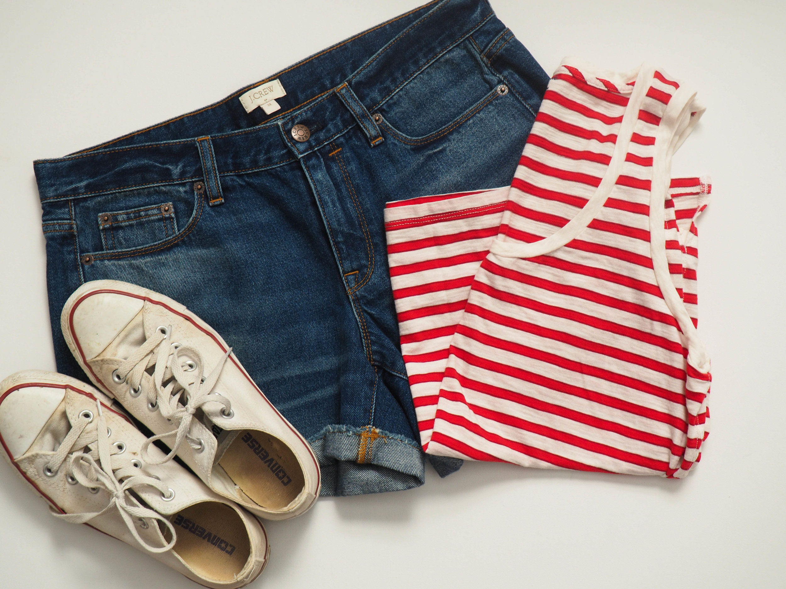 Madewell Striped Tank (  similar ) |  J. Crew Factory Denim Short  |  Converse Chuck Taylors
