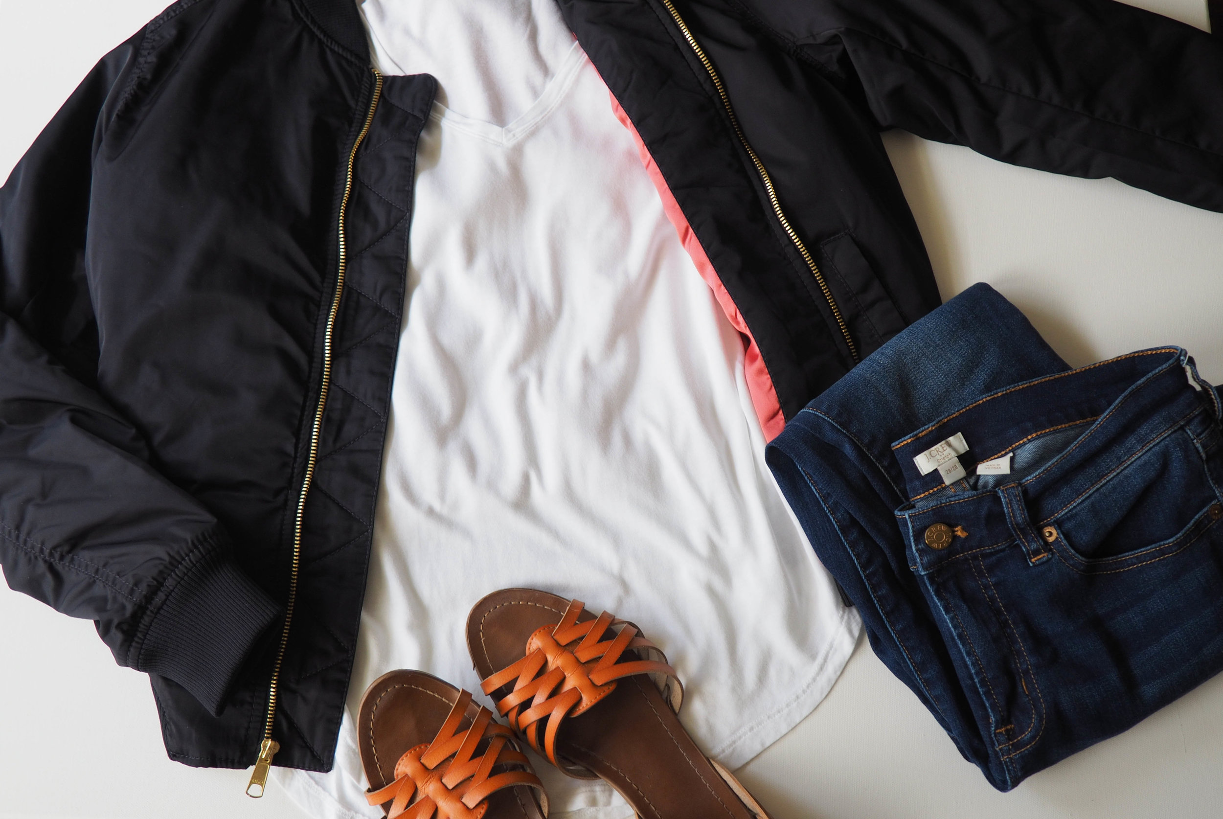Bomber Jacket  |  White T-shirt  |  J. Crew Jeans  |  Gena Sandals