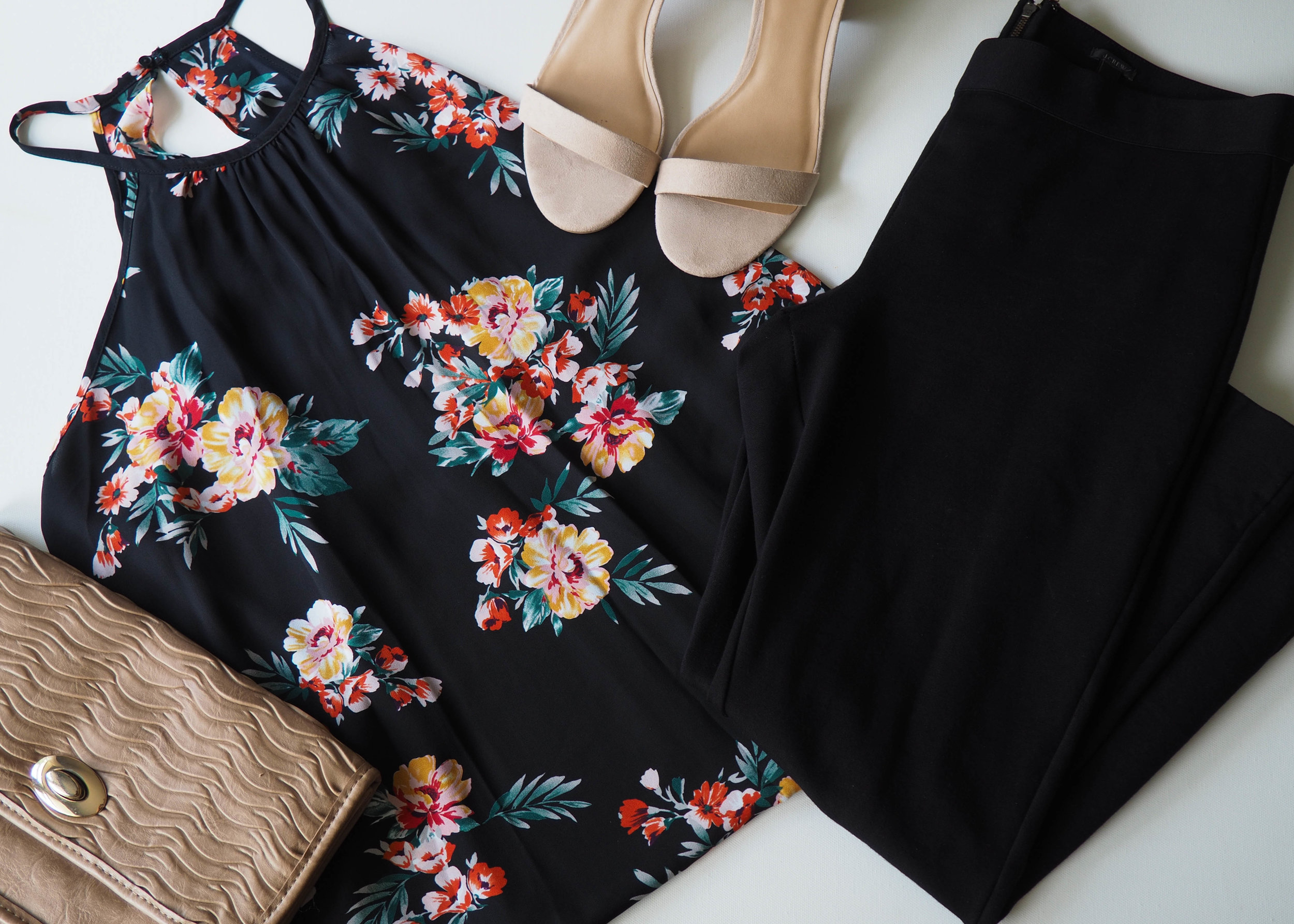 Floral Cami  |  Black Pointe Pants  |  Heels  | Clutch ( similar )