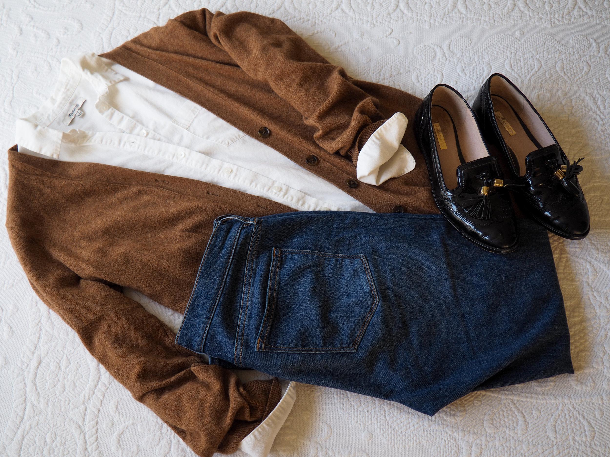 Cardigan ( Similar )   White Button Down     Denim    Loafers ( Similar )