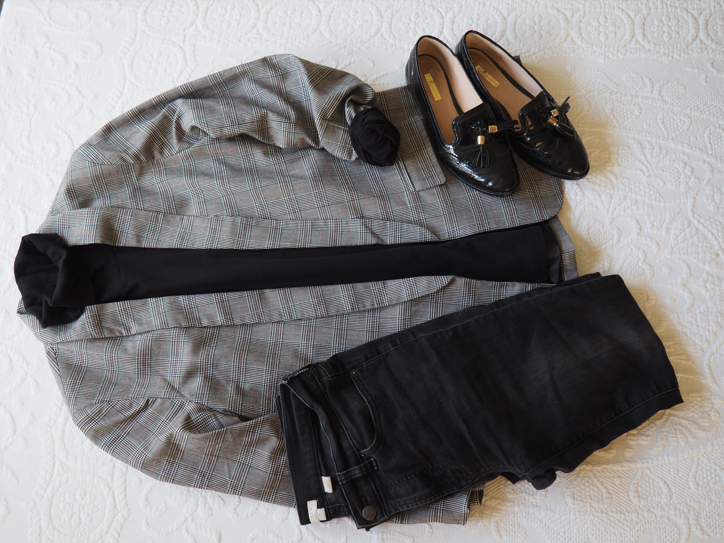 Black Turtleneck    Blazer ( Similar )   Denim    Loafers (  Similar )
