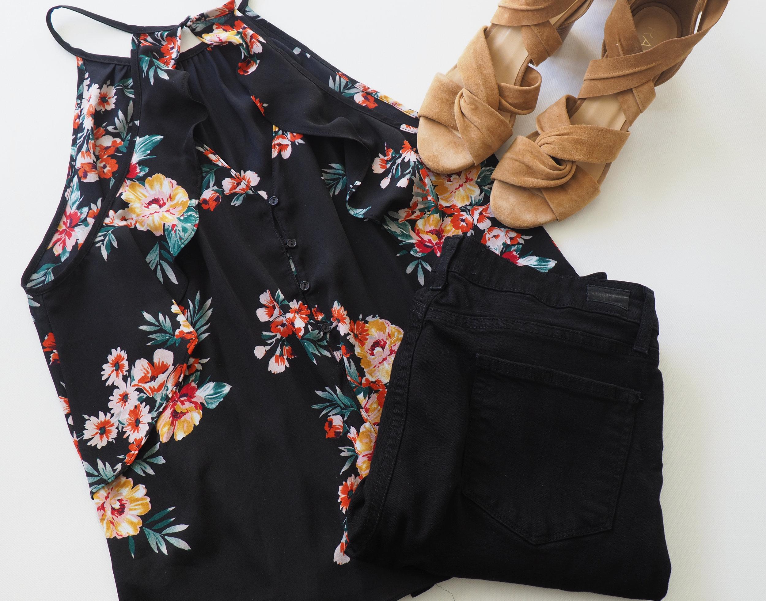 Floral Cami  (Similar)  |  Black Jeans  | Sandals  (Same style, different color)