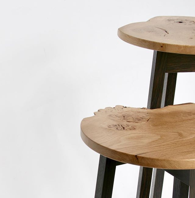 Limited edition - The Burr Collection  Occasional table in pippy burr oak with ebonised oak frame. A clean circular top with a unique section of 'live edge' complimented by a contemporary frame.  Tall - H640xW350xD350 mm Short - H510xW350xD350 mm