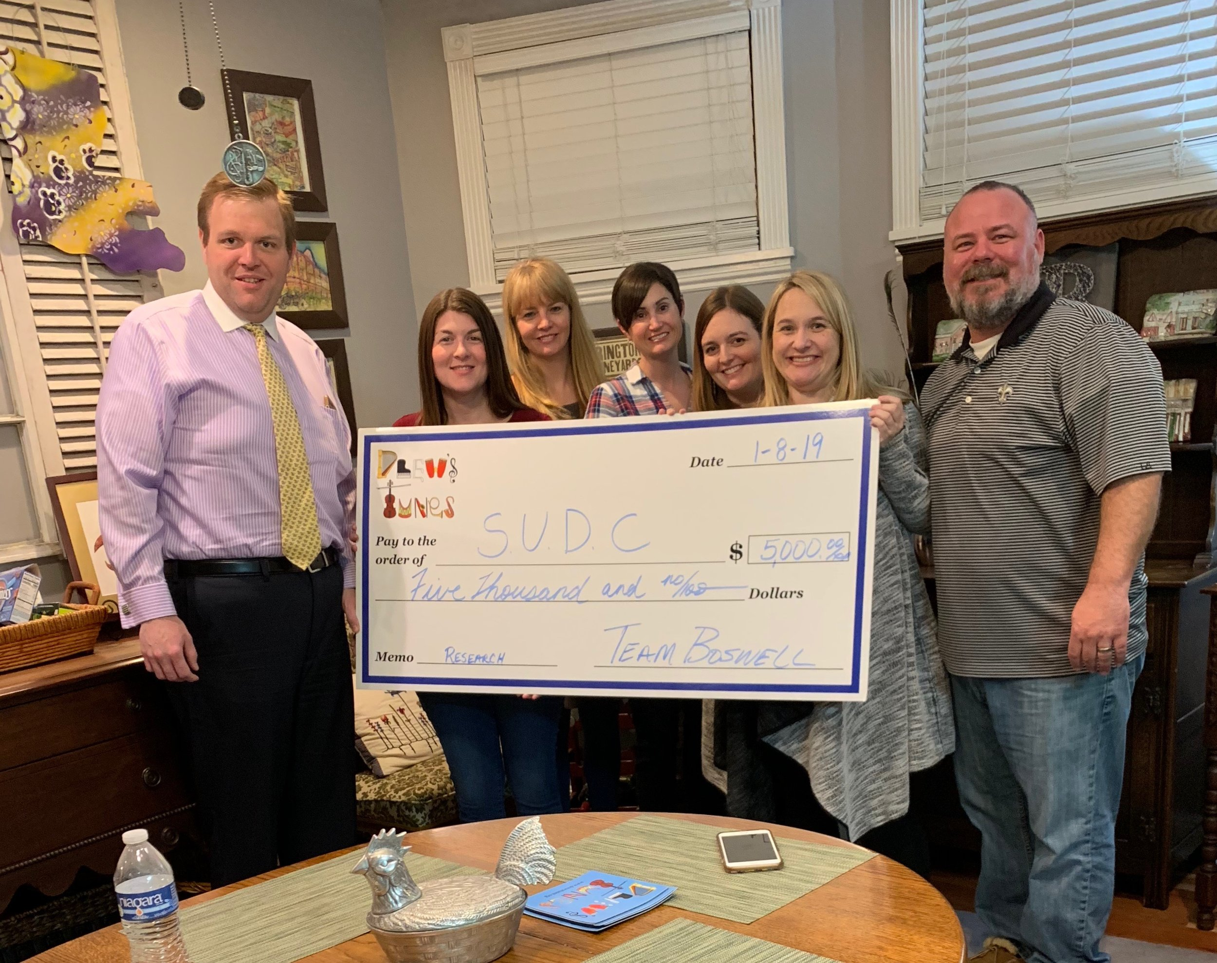Drew's Tunes Board recently donated $5,000 to the SUDC Foundation.